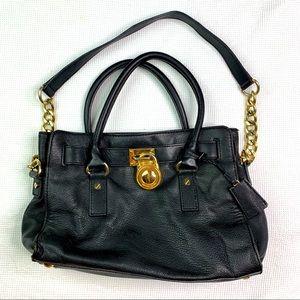 Michael Kors Black Leather Hamilton Bag